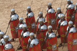 Reenactment of a Roman legion in formation, taken by John Bayley during his trip to Jordan some years ago