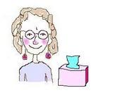 Ros cartoon with tissue box (sick)
