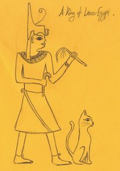 Walking like an Egyptian with cat by Jan, 7X 2010