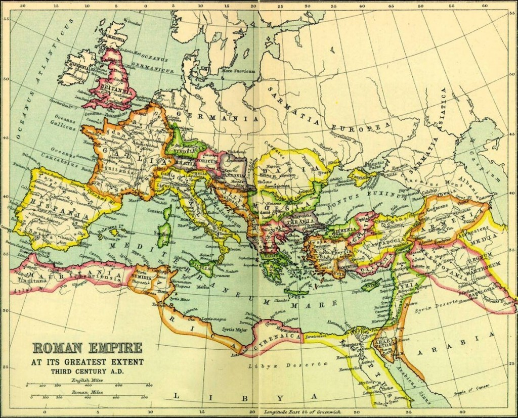 This map of the Roman Empire is in the public domain and is kindly provided by Wikimedia Commons. It shows the remarkable breadth of the Empire at its greatest. You may not recognise the names of the countries but you should be able to figure out which countries they are by their geographical position.