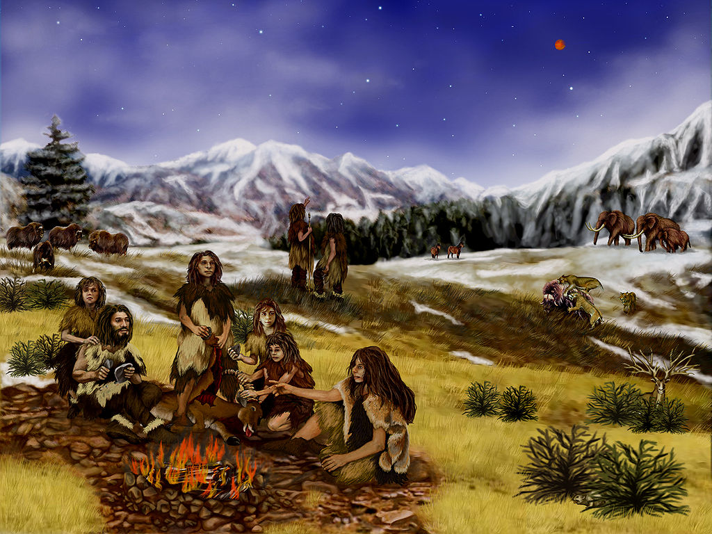 An artist's rendition of life on earth 60,000 years ago, showing a Neanderthal family on the frozen tundra of northern Europe - provided by Wikipedia Commons (public domain image)